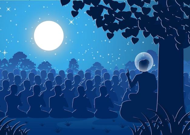 Dharma kazania pana buddy do tłumu mnichów Premium Wektorów