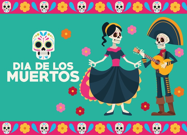 Dia De Los Muertos Kartka Z życzeniami Z Okazji Uroczystości Z Parą Szkieletów Premium Wektorów