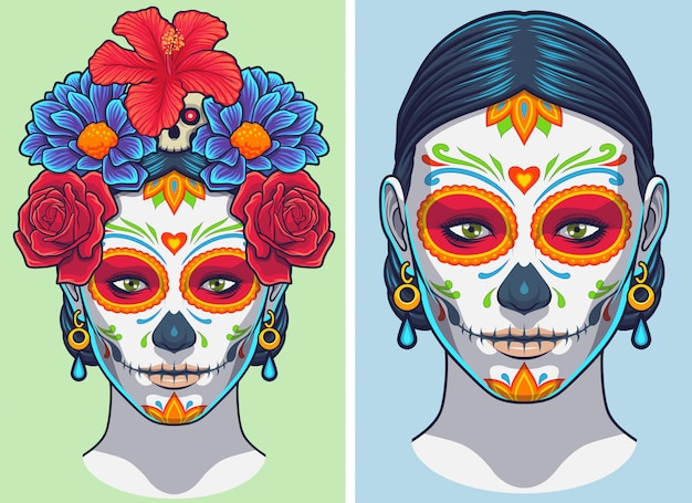 Dia De Los Muertos Lady Makijaż I Akcesoria Premium Wektorów