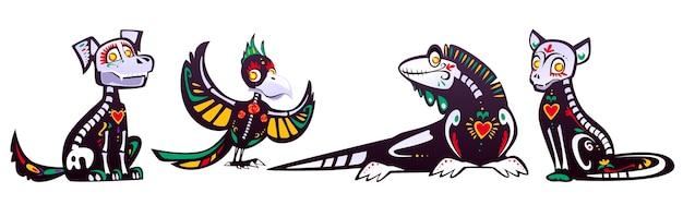 Dia De Los Muertos, Meksykański Dzień Zmarłych Ze Szkieletami Zwierząt. Kreskówka Zestaw Czarnego Kota, Psa, Papugi I Jaszczurki Z Kolorowym Wzorem Kości, Czaszek, Serca I Kwiatów Darmowych Wektorów
