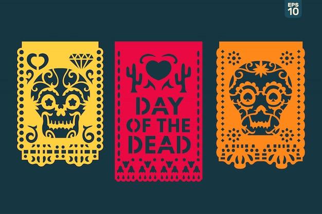 Dia de los muertos oznacza obchody dnia zmarłych. tradycyjne meksykańskie flagi do cięcia papieru Premium Wektorów