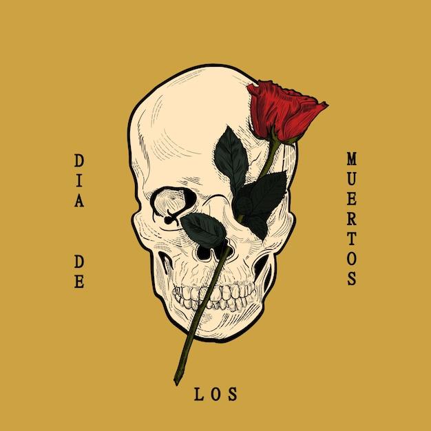Dia de los muertos, z czaszką i różą w stylu grawerowanym Premium Wektorów