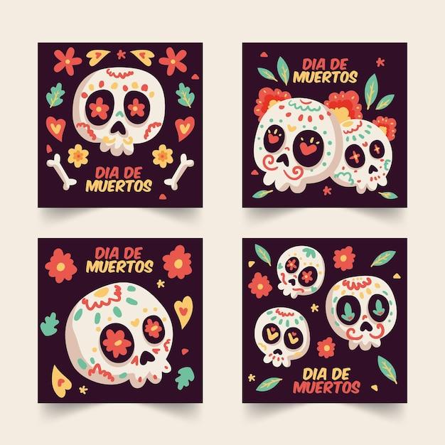 Dia De Muertos Instagram Kolekcja Postów Darmowych Wektorów