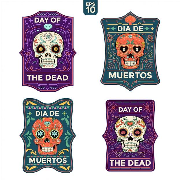 Dia de muertos lub dzień zmarłych kart z tekstem w języku angielskim i hiszpańskim Premium Wektorów