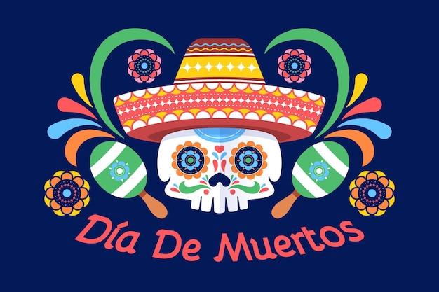 Día De Muertos Tło W Płaskiej Konstrukcji Darmowych Wektorów