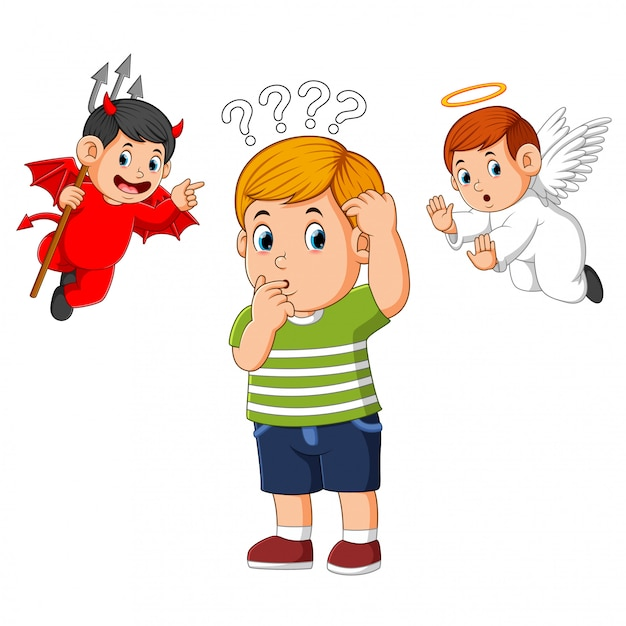 Diabeł i anioł na ramieniu młodego człowieka szepczącego pokusę do ucha Premium Wektorów