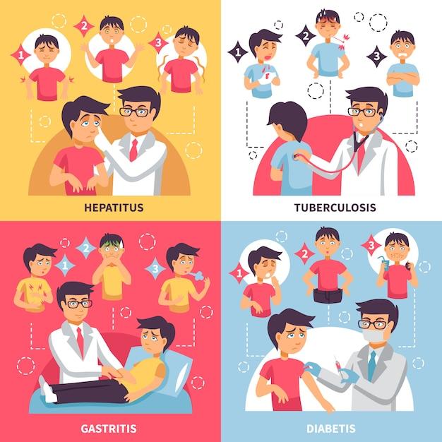 Diagnoza choroby skład konceptualny Darmowych Wektorów