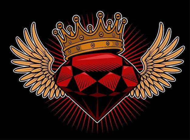 Diament Ze Skrzydłem I Koroną. Tatuaż Na Gówno. Wszystkie Elementy Są Na Osobnej Warstwie. Premium Wektorów