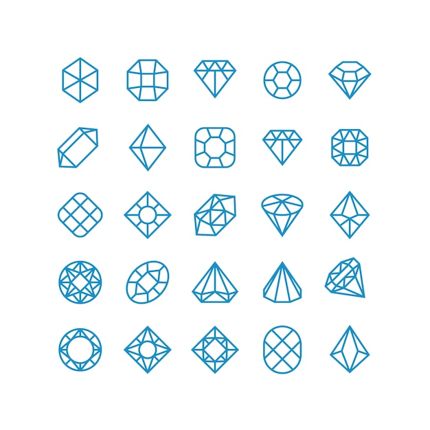 Diamentowe wektorowe kreskowe ikony. kobieta genialne piktogramy biżuterii. symbole wektor bogactwa Premium Wektorów
