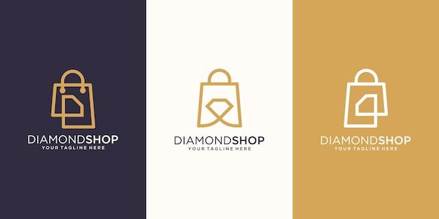 Diamond Shop, Torba Połączona Z Genialną Koncepcją Logo Designs Template, Premium Wektorów