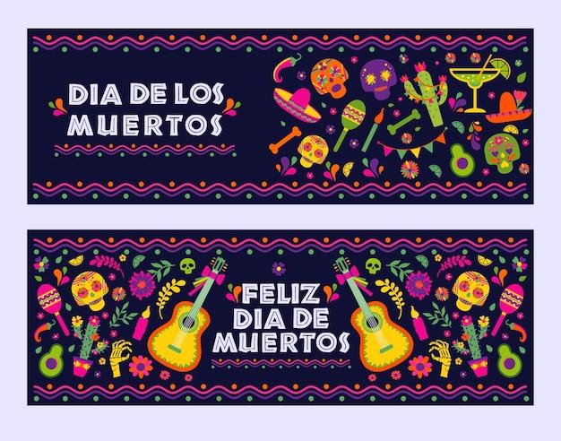 Dias De Los Muerto, Baner Meksykańskiej Fiesty Premium Wektorów