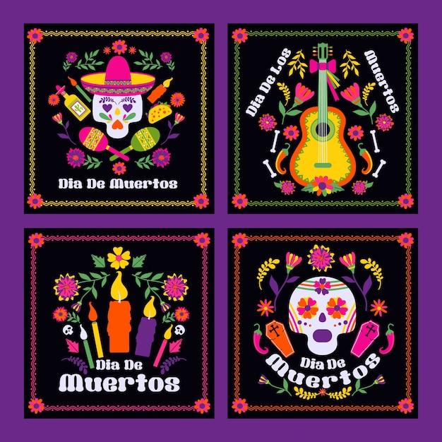 Dias De Los Muerto, Karta Meksykańska Fiesta Premium Wektorów