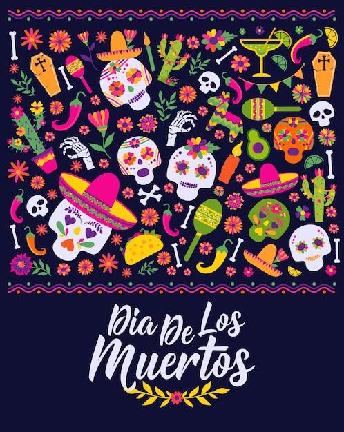 Dias De Los Muertos. Projekt Meksyku Na Fiestę Premium Wektorów