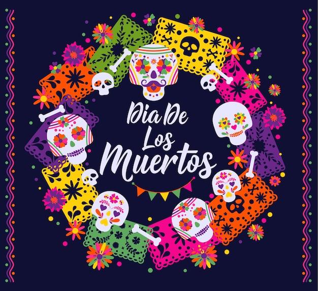 Dias De Los Muertos, święto śmierci, Tradycyjny Meksykański Festiwal. Premium Wektorów