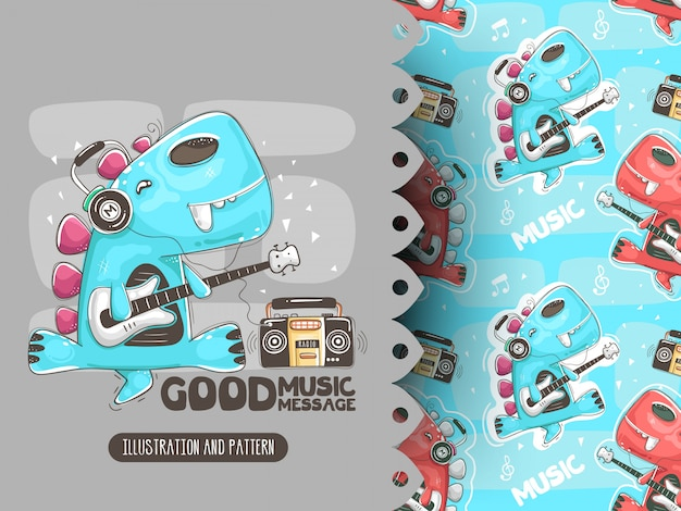 Dino Gra Na Gitarze I Muzyce. Ilustracja Do Koszulek Premium Wektorów