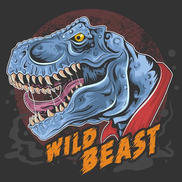 Dinosaur t rex head wild beast roar rage face element Premium Wektorów
