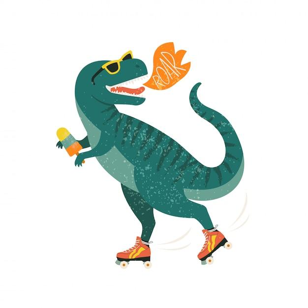 Dinozaur Na Rolkach Z Lodami. Premium Wektorów
