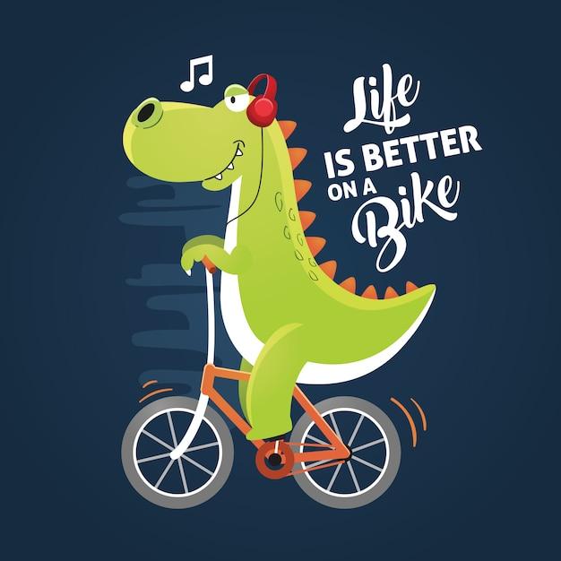 Dinozaur Na Rowerze Premium Wektorów