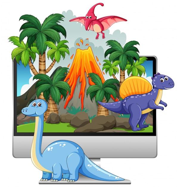 Dinozaur Na Tle Ekranu Komputera Darmowych Wektorów