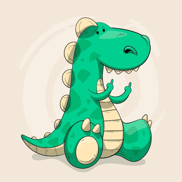 Dinozaur Pokazujący Symbol Fuck You Premium Wektorów