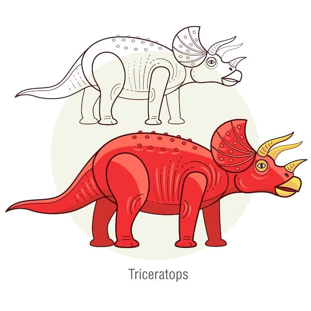 Dinozaur Triceratops. Premium Wektorów