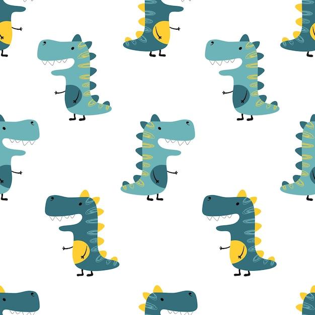 Dinozaury Bezszwowe Minimalistyczny Wzór Na Białym Tle. Ilustracja Dzieci Premium Wektorów