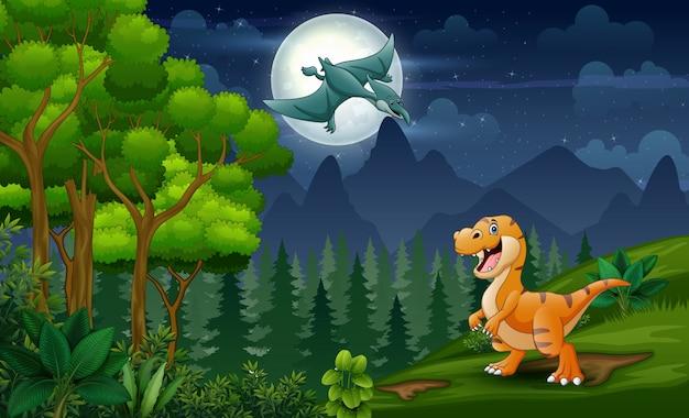 Dinozaury Kreskówka Grając W Nocy Krajobraz Premium Wektorów