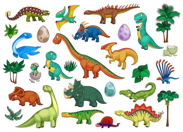 Dinozaury Kreskówka Zestaw Z Uroczymi Zwierzętami Dino Premium Wektorów