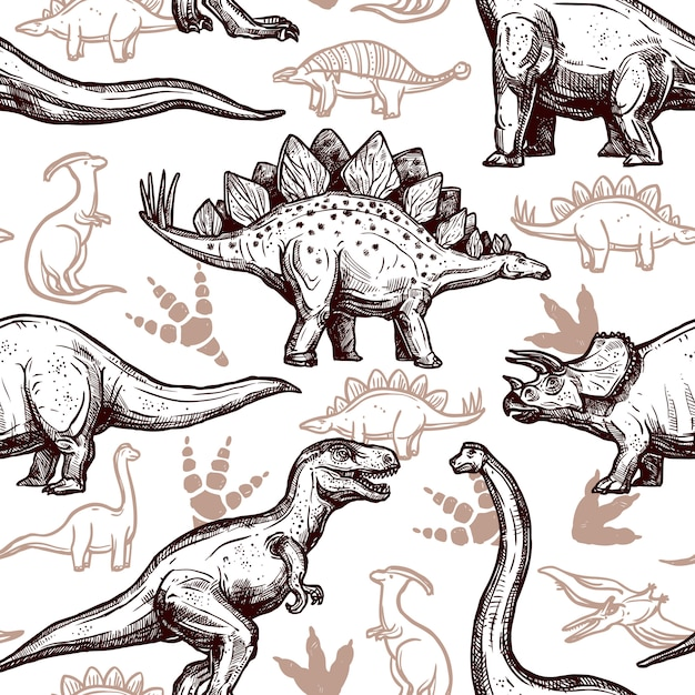 Dinozaury ślady Wzór Dwóch Kolorów Doodle Darmowych Wektorów