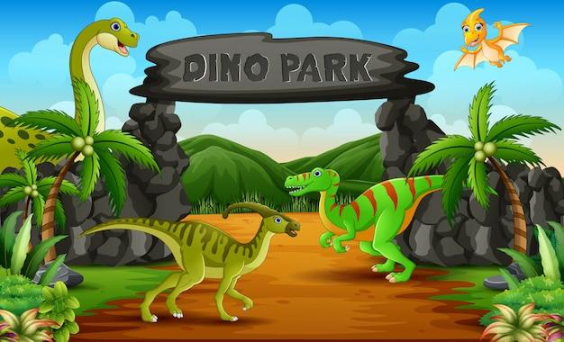 Dinozaury W Dino Parku Wejścia Ilustracji Premium Wektorów