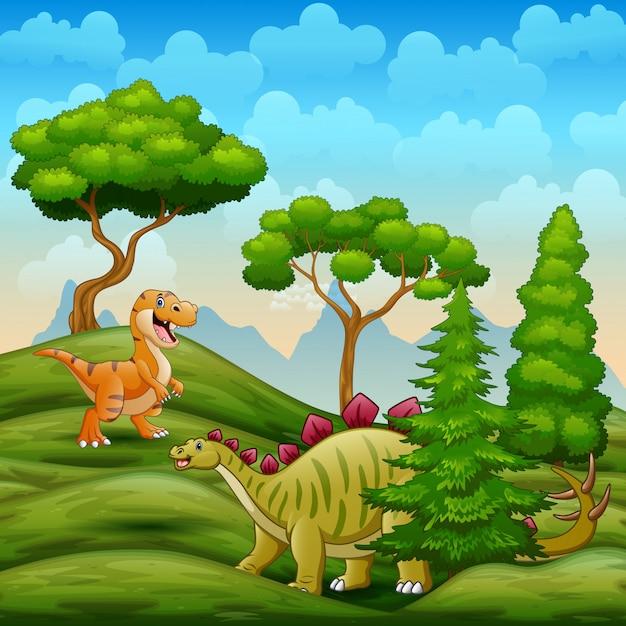 Dinozaury żyjące Na Sawannie Premium Wektorów