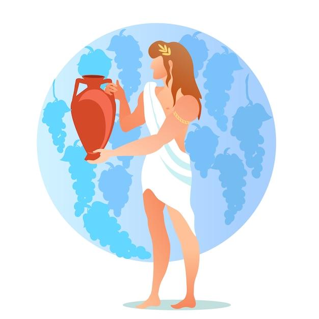 Dionizos Bachus Bóg Lub Bóstwo Wina, Winiarstwo Premium Wektorów