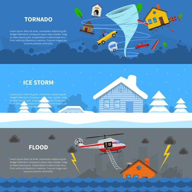 Disaster Concept 3 Flat Banners Set Darmowych Wektorów