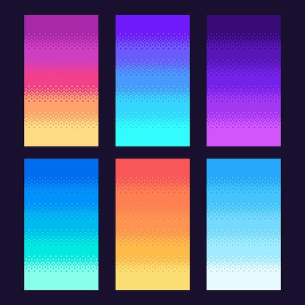 Dithering Pikseli Tła. Stare Retro Gry Wideo Pixel Art Gradient, Retro Gry Zręcznościowe 8-bitowy Zestaw Ilustracji Nieba Premium Wektorów