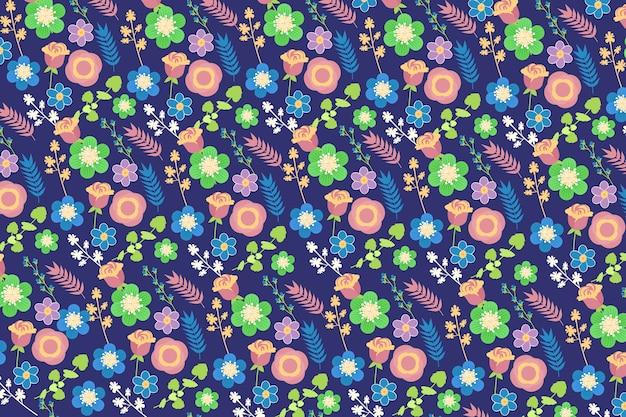 Ditsy Tle Kwiatów W Odcieniach Niebieskiego I Zielonego Darmowych Wektorów