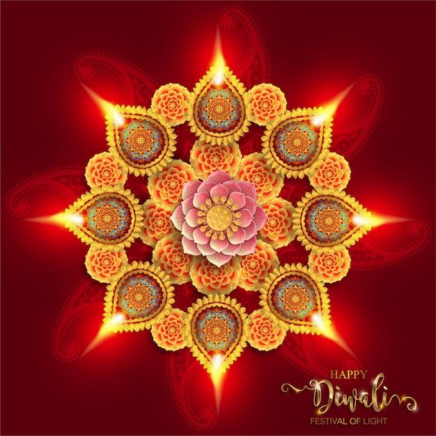 Diwali, Deepavali Lub Dipavali święto świateł W Indiach Ze Złotym Wzorem Diya I Kryształami Na Papierze Premium Wektorów