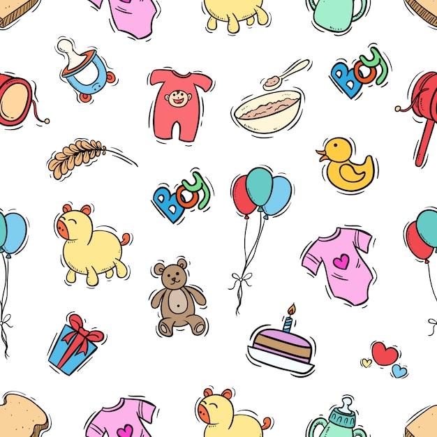 Dla dzieci wzór w stylu kolorowe doodle Premium Wektorów