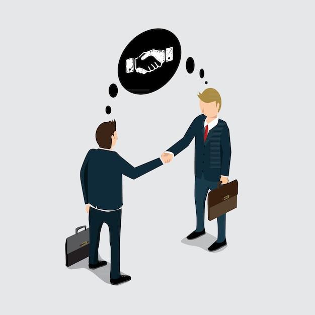 Dłoń Biznes Wstrząsnąć Dla Sukcesu Premium Wektorów