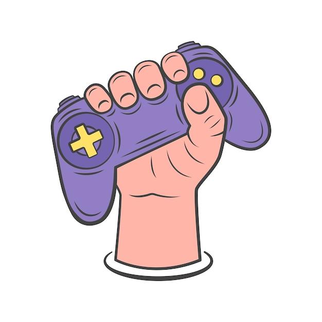 Dłoń Trzymająca Gamepad. Ilustracja Gamepada Do Sieci, Aplikacji Mobilnych, Projektowania. Ręcznie Rysowane Styl. Ilustracja. Premium Wektorów
