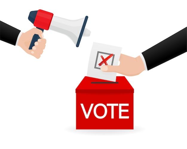 Dłoń Trzymająca Megafon. Ikona Głosowania Za. Koncepcja Głosowania. Ilustracja. Premium Wektorów