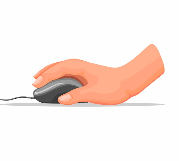Dłoń Trzymająca Mysz Komputerową W Biurze Lub W Domu W Ilustracja Kreskówka Na Białym Tle Premium Wektorów