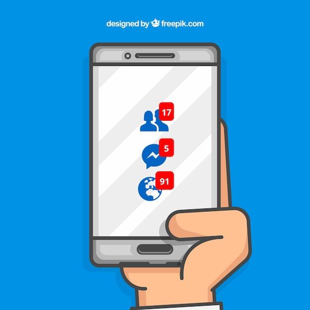 Dłoń Trzymająca Telefon Z Powiadomieniami Na Facebooku Darmowych Wektorów