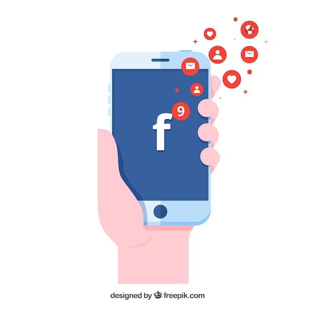 Dłoń Trzymająca Telefon Z Powiadomieniami Na Facebooku Premium Wektorów