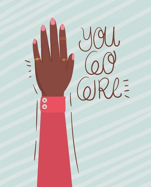 Dłoń W Pięść I Idź Dziewczyno Inicjacji Kobiet. Ilustracja Kobiece Pojęcie Władzy Feministycznej Premium Wektorów