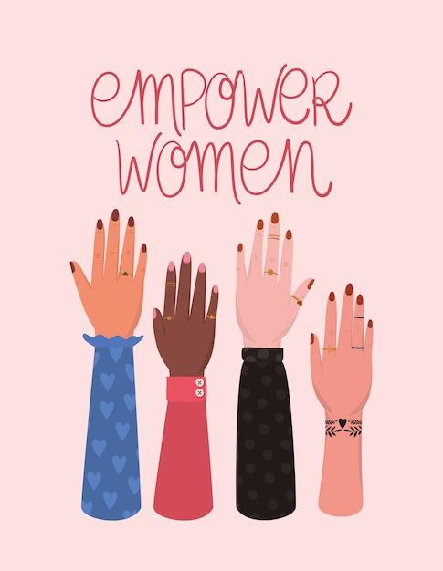 Dłoń W Pięść I Twoje Zasady Upodmiotowienia Kobiet. Ilustracja Kobiece Pojęcie Władzy Feministycznej Premium Wektorów