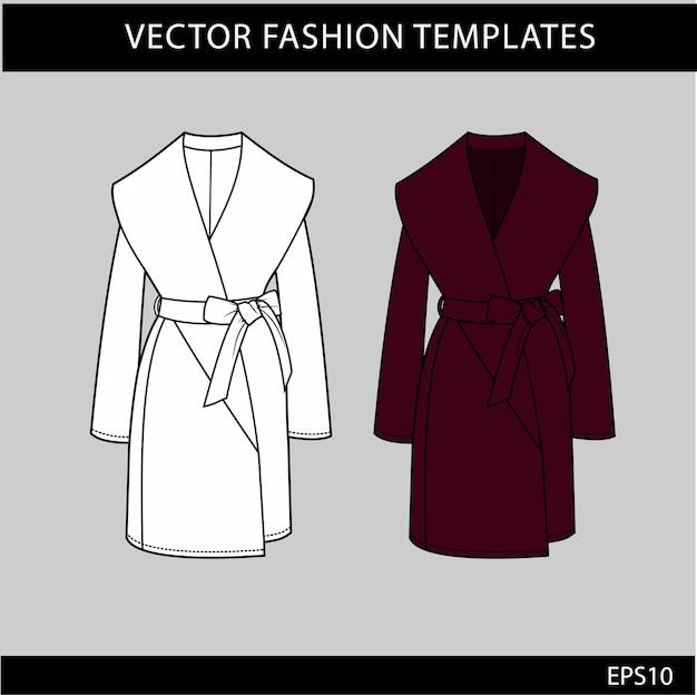 Długi Płaszcz Damski Rysunki Techniczne Mody Płaskie Premium Wektorów