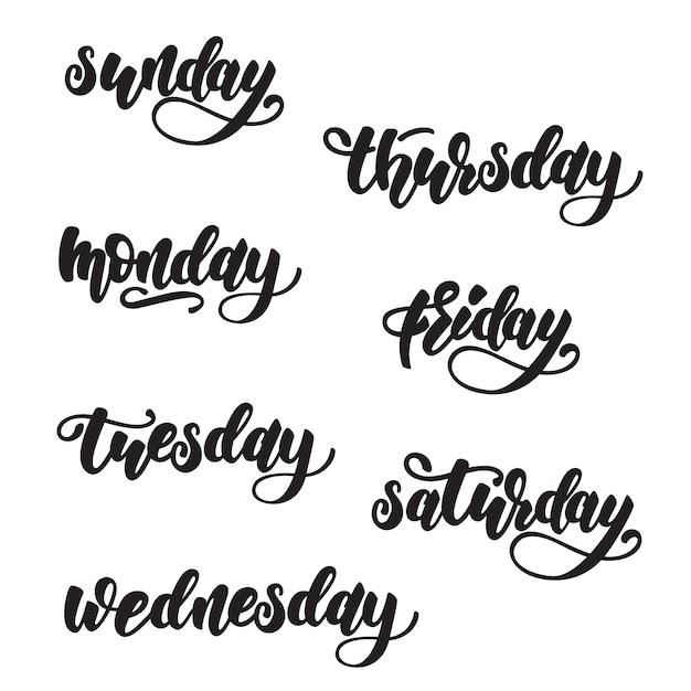 Dni Tygodnia Projektowania Napisów Premium Wektorów