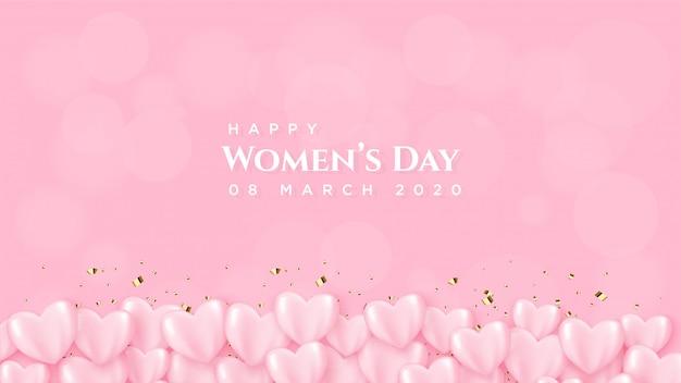 Dnia Kobiety Z Różowym Balonem Z Białym Napisem. Premium Wektorów
