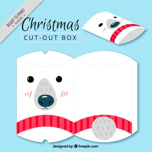 Dość niedźwiedź polarny Boże Narodzenie pudełko Darmowych Wektorów