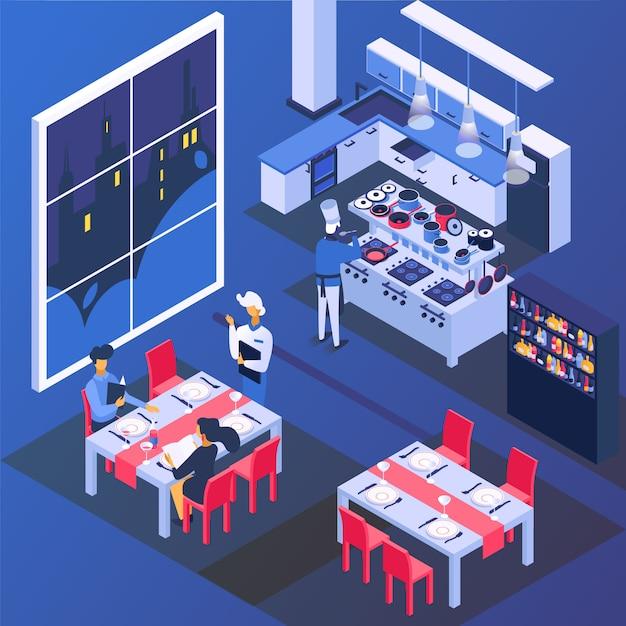 Dobiera Się Ludzi W Restauraci Przy Stołem, Romantyczna Obiadowa Ilustracja. Mężczyzna Kobieta Postać Pić I Jeść Jedzenie, Izometryczny Miłość Premium Wektorów